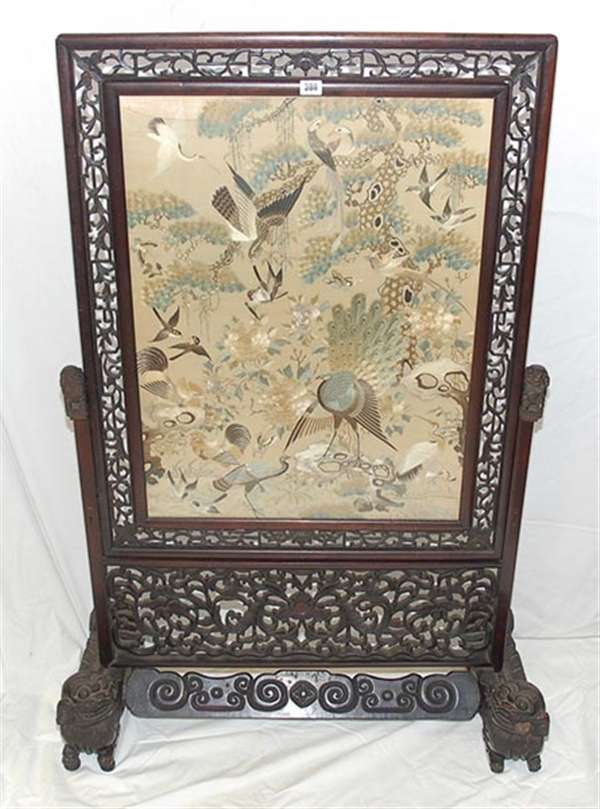 A late 19th Century Chinese rosewood fire-screen
